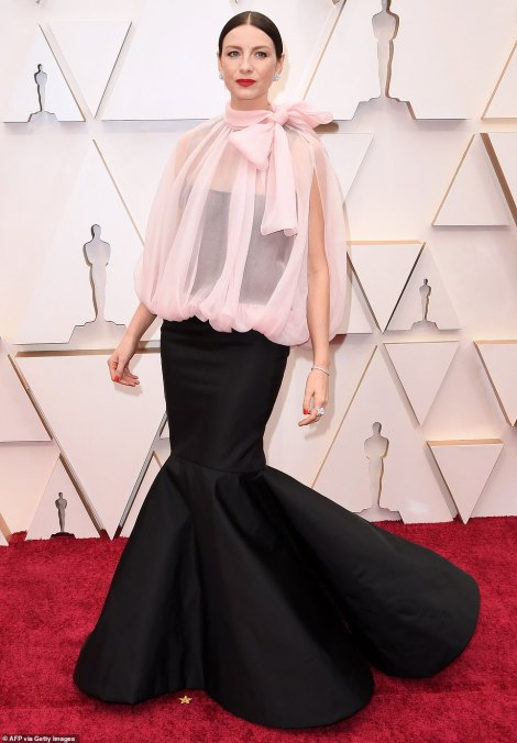 Catriona Balfe's black gown was incredibly elegant and chic, however the addition of the puffy pink tulle overlay slightly ruined the ensemble