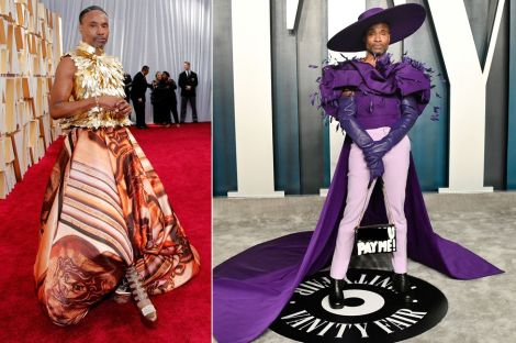 Porter wore a custom two-piece by British designer Giles Deacon, which consisted of a 24-carat gold bodice accompanied by a flowing silk maxi-skirt - finished off with some custom Jimmy Choo shoes.